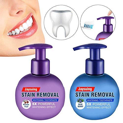 belukies 2 Pack Intensive Whitening Zahnpasta Stain Remover,Fluoridfreie Baking Soda Whitening Toothpaste,Anti Bleeding Gums for Brushing Teeth