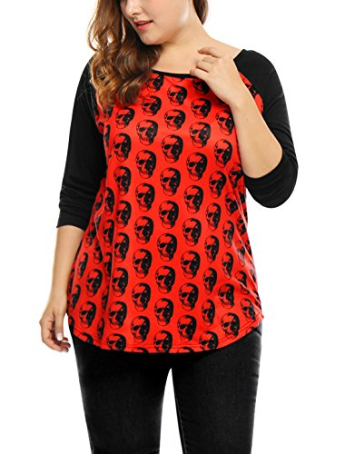 Agnes Orinda Damen über Größe Kontrast Farbe Schalldämpfer Druck Raglan T-Shirt, Rot/1X (Bluse 1x)