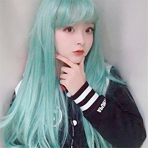 n-Mode neuen Stil Alltag mit weiblichen kurze Perücke in U-Form Haar Perücke Faser die natürlichen Locken der mode simulation Schutzmaske chemische Minze Grün (Weibliche Hai Kostüm)