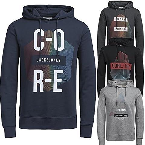 Jack & Jones Herren Kapuzenpullover Hoodie Core Storm Sweatshirt Sweat Phlake S M L XL (XL, Schwarz)