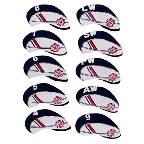 B Baosity 10 x Couvre Protecteur de Tête Club de Golf en Néoprène Accessoire Golf - Beige + Bleu...