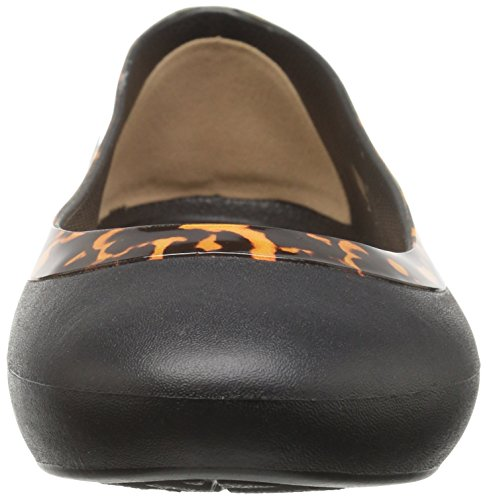 Crocs Lina Embellished Collar Femmes Synthétique Chaussure Plate Black-Tortoise