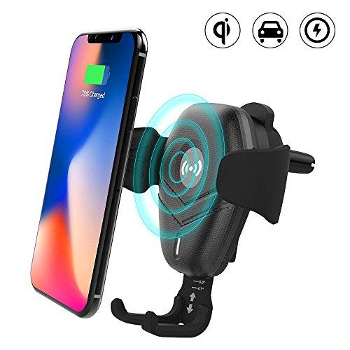 Chargeur de voiture Qi sans fil pour iPhone X,Qi Support Téléphone Voiture Chargeur sans fil à Induction Rapide, Support de téléphone Air Vent Mount Support pour Samsung Galaxy Note 8 / S8 / S8 + / S7/ S9/S9+,etc