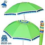 Sombrilla cortaviento verde Garden de poliéster para playa de 220 cm. - Lola Derek