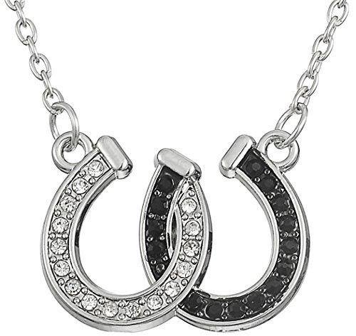 Lovely Double Horseshoe White And Black Crystal Hoof Pendant Necklace For Women Girls Gift Jewelry