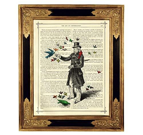 Mann Vögel Gentleman Druck Kunstdruck auf viktorianischer Buchseite Steampunk Zylinder Bild Poster Geschenk ungerahmt