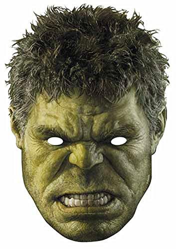 The Avengers - Hulk Papp Maske, aus hochwertigem Glanzkarton mit Augenlöchern, Gummiband - Größe ca. 30x20 cm