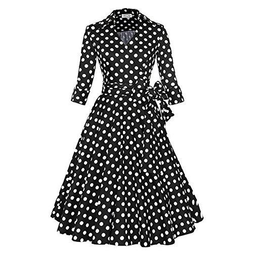 REPHYLLIS Vintage 1950's Audrey Hepburn robe de soirée cocktail année 50 col en V manches courtes Schwarz Polka Dot