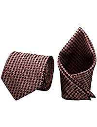 Forty Hands Men's Necktie & Pocket Square Combo (Peach) (FTH81)