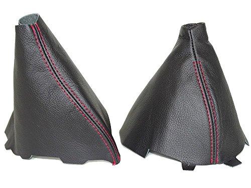 Preisvergleich Produktbild The Tuning-Shop Ltd Gear & Handbremsmanschette Leder schwarz Naht rot