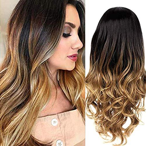 Perruques Bouclé Ondulé Sexy de Dégradé Gris Perruque Synthétique Couleurs Mixtes Blonde Longue Cheveux Bouclés 25.6 pouces/65 cm wiwigs