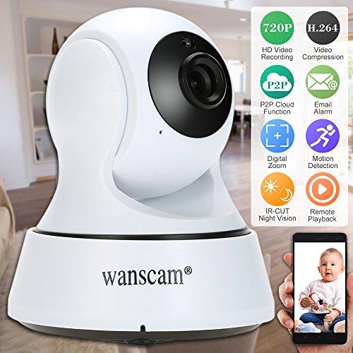 Wanscam IP Camera HD 720P Wireless WiFi Telecamera Pan Tilt Rete Nube Supporto PTZ TF Scheda Record 2 vie P2P Android/iOS APP IR-CUT Filtro Visione Notturna Android/iOS APP Rivelazione di Movimento