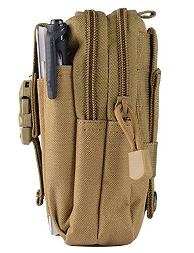 CUKKE Nylon Gürteltasche Outdoor Sport Hüfttasche Doggy Tasche Sportstasche Gürtellinie Waist Tasche Hip Pack für Wandern Laufen Radfahren Camping Reise Klettern Tarnung 3 Khaki