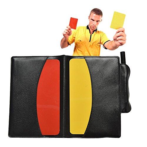 CGBOOM Schiedsrichterkarten Rote Gelbe Karte Fußball Schiedsrichter Set PVC Disziplinarkarte Spiel Sport Warnkarte Set mit Ergebnislisten Bleistift Brieftasche für Volleyball Basketball Trainer