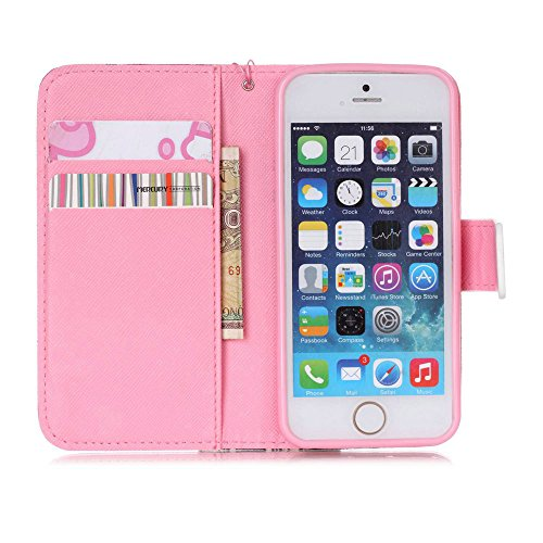 Fille Coque pour iPhone SE,iPhone SE Coque Flip Etui de Protection PU Cuir Bookstyle Étui Housse en Cuir à rabat Portefeuille Folio Flip Case pour iPhone 5S,EMAXELERS iPhone SE Coque Cuir,iPhone SE Co T Elephant Campanula 7