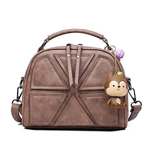 Mjhwsx Borsetta Cuoio Semplice selvaggio spalla borsa Messenger Bag di grande capienza solido cuciture colore Tote Bag per le donne e Girl , khaki