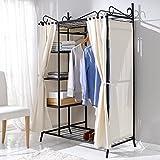 Metall Kleiderschrank Garderobe Breezy – mit Kleiderstange und Ablageflächen für Kleidung & Schuhe - hochwertige Stoff-Verkleidung - 109 x 57 x 171 cm – Beige Schwarz