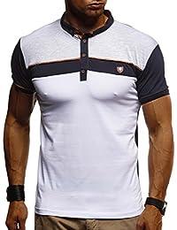 LEIF NELSON Herren Sommer Polo Shirt Poloshirt Kurzarmshirt Sportshirt T-Shirt Freizeit Hemd Hoodie Slim Fit LN1420