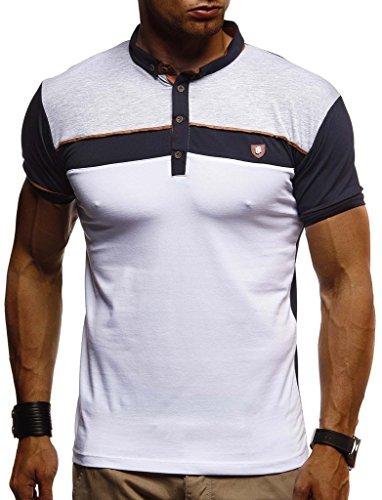 LEIF NELSON Herren Sommer T-Shirt Polo Kragen Slim Fit Baumwolle-Anteil | Basic schwarzes Männer Poloshirts Longsleeve-Sweatshirt Kurzarm | Weißes Kurzarmshirts lang | LN1420 Dunkel Blau XX-Large -