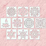 100yellow® Diwali Rangoli Plastic Stencil, 4x4 Inches (White) - Pack of 10