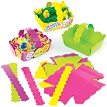 Bunte Osterkörbe aus Pappe zum Dekorieren und Basteln für Kinder zu Ostern (12 Stück)