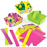 Easter Coloured Card Craft Baskets for Kids to Decorate and Fill with Eggs or Gifts (Pack of 12)
