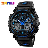 SKMEI Original Multifunctional Dual Time Quartz Digital Analog Display Luminous 5ATM Waterproof Stopwatch Sports Military Watch - SK1270 with Company Packing & (Black & Blue)