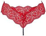 Bracli Dessous Perlenstring Ebony Night rot mit schwarzen Manacor-Zuchtperlen Größe OS (36-40)
