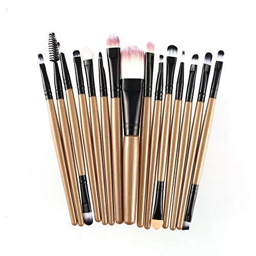 Pudincoco 15 Pcs/Kit Pinceaux De Maquillage Ensemble Cils Lèvres Base Poudre Ombre À Paupières Sourcils Eyeliner Cosmétique Maquillage Pinceau Beauté Outil (Café & Noir)