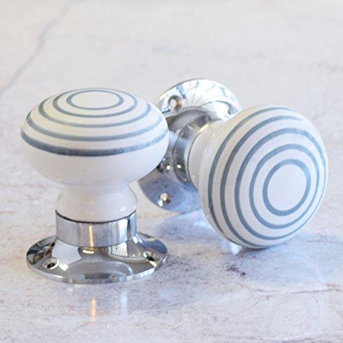 Pomello Maniglia Porta in Ceramica Bianca a Strisce Grigie Con