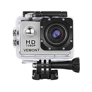 Vemont Action Caméra sport caméscope sports 30M caméra 2.0 HD 720P écran étanche objectif grand angle de 120 degrés multiples accessoires Sports et loisirs, plongée, natation, course, vélo, etc. (Noir, 2)