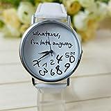 ZOUMOOL Heiße Frauen-Leder-Uhr, was auch immer ich bin spätes Brief-Uhr-Weiß ZOUMOOL (B)