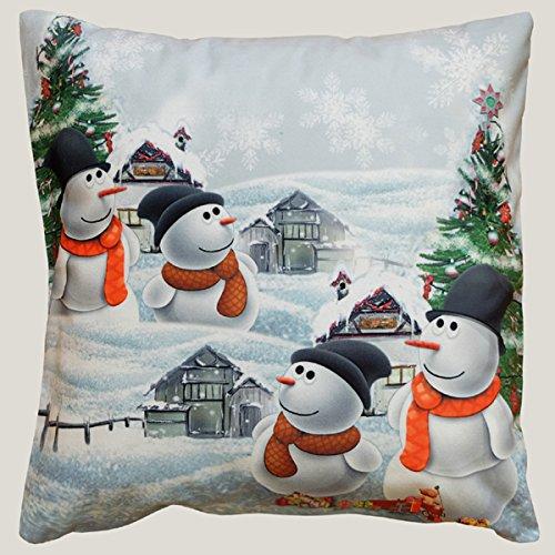 HÜLLE 40x40 cm 4 Schneemänner WEIHNACHTEN Winter Dekokissen Kurzvelours Soft Touch Kissenbezug Kissen (4 lustige Schneemänner) ()