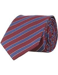 OTTO KERN Schmale Krawatte Seide Seidenkrawatte Clubkrawatte Bordeaux Rot Blau Gestreift 6,5 cm