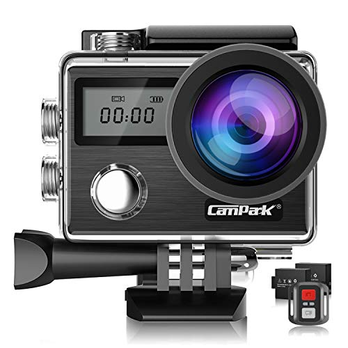 Campark 4K Action Cam 20MP WiFi Touchscreen wasserdichte Unterwasserkamera 40M Digitale Videokamera mit Dual 1050mAh Batterien X20