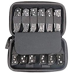 fushida FO318 Étui à Couteaux de Poche, boîte de Rangement de Petits Couteaux, boîte de Rangement de Couteaux Pliable avec 12 emplacements