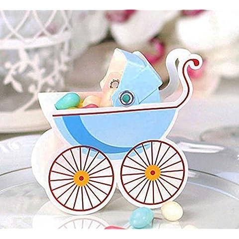 Geschenkbox 25 x Regalo invitados Nacimiento Ceremonia Bautizo Bebé Niña carrito de bebé azul