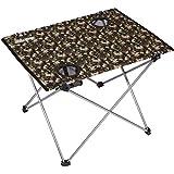 trekology plegable Camping Picnic tables–Portátil compacto ligero plegable enrollable mesa en una bolsa–pequeño, ligero y fácil de llevar para Campamento, playa, al aire libre, Camo with Cup Holder