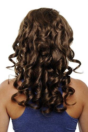 WIG ME UP  - Toupet, Clip nelle estensioni dei capelli 7 pezzi, 3/4 di Parrucca Castano Castano dorato, 50 cm, Ricci Ondulati, Extension, Wig H9503-12