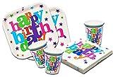 'Piatti, Bicchieri e Tovaglioli USA e getta compleanno ragazza e ragazzo. 88pezzi set festa di compleanno per bambini. Stoviglie monouso Happy Birthday '
