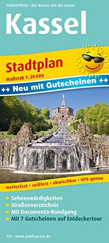 Kassel: Stadtplan mit Gutscheinen, Sehenswürdigkeiten, Straßenverzeichnis & documenta-Rundgang, wetterfest, reißfest, abwischbar, GPS-genau. 1 : 20 000 (Stadtplan / SP)