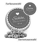DeinBonbon 20x Gastgeschenk Mini Dose DIY Süßigkeiten und Stickerbogen | Hochzeit, Geburtstag, Taufe & Kommunion (Altrosa, Cassis Herzen Fruchtsaft Gummis) - 5