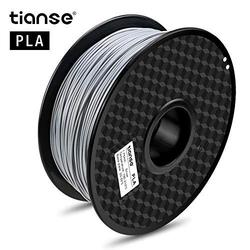 TIANSE Filamento de PLA para la impresora 3D / Pluma 3d, 1 kg 1,75 mm(Gris Plateado)