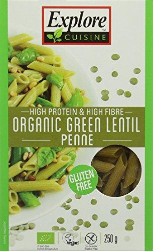 Explore Cuisine Organic Green Lentil Penne 250 g (Pack of 3)