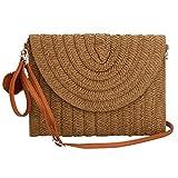 Sac d'embrayage de sac de paille de femmes, épaule de paille d'été tissée sacs à...