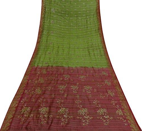 Vintage Saree Gewebe Organza Silk Grün Gewebtes Kleid machen indischen Sari Gebrauchte Yard Tissue Silk Saree