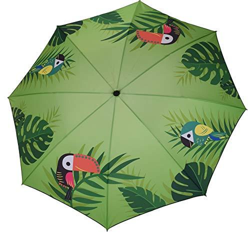 Meinposten. Sonnenschirm grün Strandschirm Vogel Flamingo 180 cm UV-Schutz 40+ Balkonschrim (Vogel)