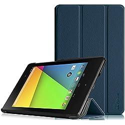 Fintie Etui Google Nexus 7 2ème génération - Ultra-Mince et léger PU Cuir Coque Case Cover avec Auto Sleep/Wake Function pour Tablette Google Nexus 7 2013, Bleu Encre