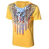 TIFIY Männer Sommer Basic Shirt Rundhalsausschnitt Hip Hop Einfarbig Slim Fit Bluse Streetwear Athletic Cotton T-Shirts Kurzarm Bedruckt Jungen T-Shirt Tops Sportshirt Oversize Kleidung(Gelb,L)