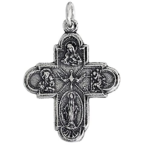 Revoni Sterling Silver Holy Cross (Virgin Mary, Sacred Heart of Jesus, Infant Jesus of Prague, Holy Spirit) Pendant, 7/8
